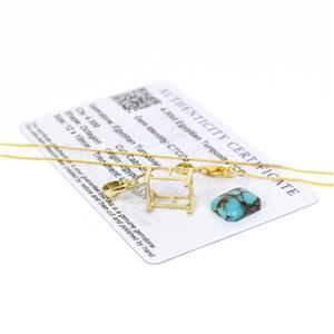 4.3cts Octogan Egyptian Turquoise Pendant, Inc; Gold Plate Mount & Chain.