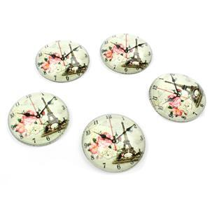 Vintage Eiffel Tower Clock Glass Cabochons, Approx 25mm (5pcs/pack)