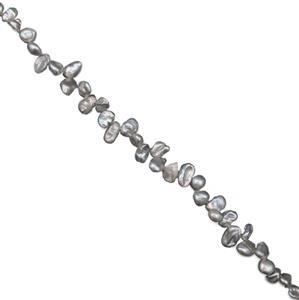 Silver Freshwater Cultured Keshi Pearls Approx 6x4-5x8mm, 38cm Strand