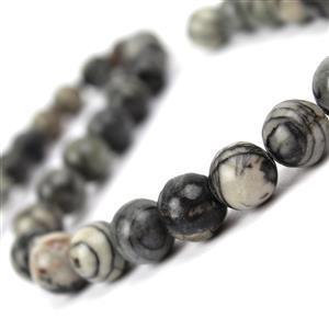 310cts Black Picasso Jasper Plain Rounds Approx 12mm, 38cm