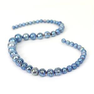 160cts Swiss Blue Lava Rock Graduated Plain Rounds Approx 6 to12mm, 38cm Strand