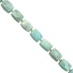 340cts Amazonite Faceted Rectangle Approx 15.5x11 to 16x12mm, 30cm Strand with Spacers