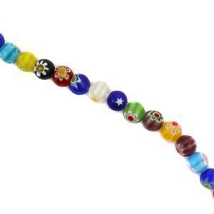 Millefiori Glass Round Beads Approx 8mm, 36cm