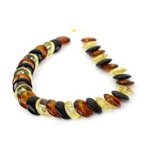 Baltic Multi Colour Amber Coin Strand Inc. Cognac, Cherry, Lemon, 12mm (20cm)