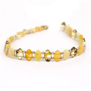 Baltic Multi Colour Amber Double Drilled Oval Bead Strand With Sterling Silver Spacers Approx 8x5mm, 20cm Strand (Butterscotch, Earthy, Off-White)