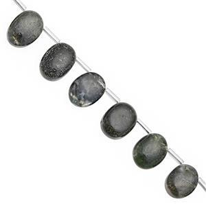 76cts Olive Green Agate Graduated Smooth Oval Approx 9x7 to 16x11mm, 17cm Strand with Spacers
