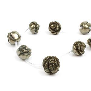 430cts Pyrite Carved Rose Flowers Approx 16mm, 13pcs/strand