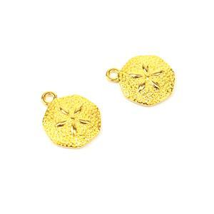 Gold Plated 925 Sterling Silver Sand Dollar Charm 13mm 2pk