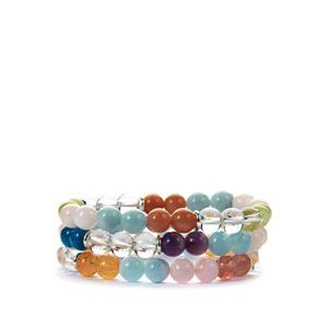 Multi Colour Gemstones Sterling Silver Set of 3 Elastic Bracelets ATWG 245cts