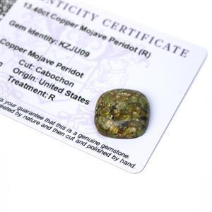 13.4cts Copper Mojave Peridot 18x18mm Cushion  (R)