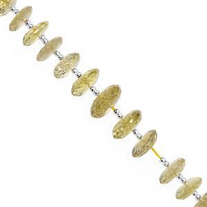55cts Lemon Quartz German Cut Wheel Approx 7x3 to 12x4.5mm, 15cm Strand with Spacers