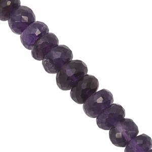 105cts Purple Amethyst Graduated Faceted Rondelle Approx 6.5x5 to 9x6mm, 22cm Strand