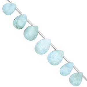 66cts Larimar Top Side Drill Graduated Smooth Pear Approx 9.5x6.5 to 16.5x11mm, 16cm Strand with Spacers
