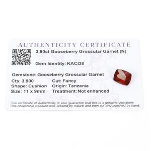 3.9cts Gooseberry Grossular Garnet 11x9mm Cushion  (N)