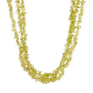 378.10ct Changbai Peridot Sterling Silver 3 Strand Necklace