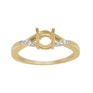 Gold Plated 925 Sterling Silver Round Ring Mount (To fit 6mm gemstone) Inc. 0.08cts White Zircon Brilliant Cut Rounds - 1pcs