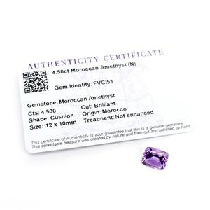 4.5cts Moroccan Amethyst Cushion Brilliant 12x10mm