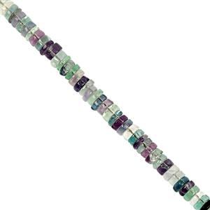 65cts  Multi-Colour Fluorite Smooth Wheels Approx 4x1 to 5.5x3mm, 20cm Strand