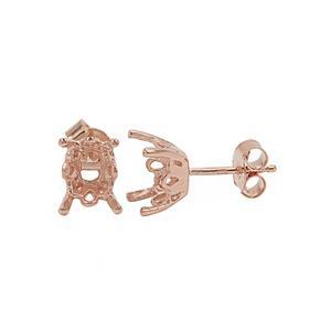 Rose Gold Plated 925 Sterling Silver Cushion Earring Mount (To fit 9x7mm Gemstone) - 1pair