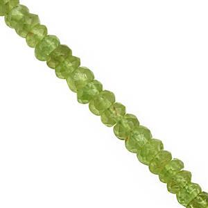 48cts Peridot Faceted Rondelle Approx 3x1 to 4x2mm, 32cm Strand
