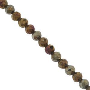 40cts Mystic Yellow Coated Spinel Faceted Round Approx 4mm, 30cm Strand