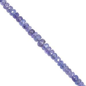 28cts Tanzanite Graduated Faceted Rondelle Approx 2.5x1 to 5x3mm, 22cm Strand