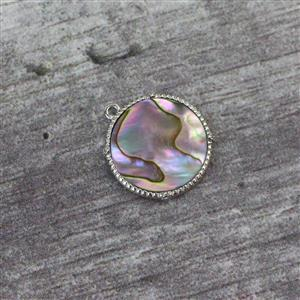 Rhodium Plated 925 Sterling Silver Round Abalone Pendant Approx 15mm, 1pc