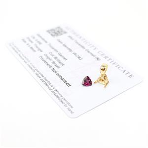 0.65cts Tocantin Garnet 6x6mm Triangle and Gold Plated 925 Pendant Mount!