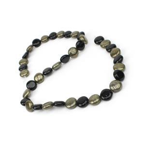 "186cts Pyrite and Black Obsidian Coins Approx 10mm 15"" Strand"