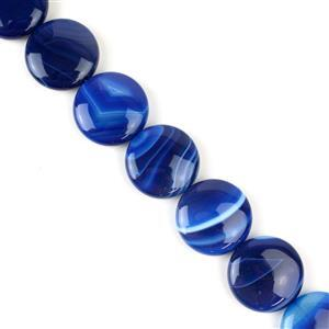 620cts Blue Stripe Agate Puffy Coins Approx 25mm, 38cm/strand