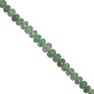 92cts Green Strawberry Quartz Graduated Faceted Rondelle Approx 6x4 to 10x6mm, 20cm Strand