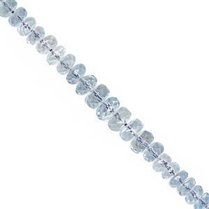 17cts Santa Maria Aquamarine Graduated Faceted Rondelle Approx 2.5x1 to 5x2.5mm, 15cm with Spacer Strand.