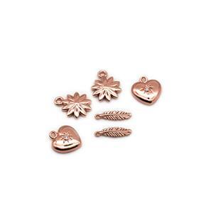Rose Gold Plated Base Metal Mix Charms  Inc. 2x Feathers, 2x Daisys, 2x Hearts Approx 14mm (6pk)