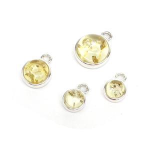 Baltic Lemon Amber Sterling Silver Charm Pack, Approx 2x 6x9mm,1x 8x11mm,1x 10x13mm (4pk)