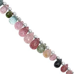12cts Multi-Colour Tourmaline Top Drilled Graduated Faceted Drop Approx 3.5x3 to 7x4mm, 11cm Strand with Spacers
