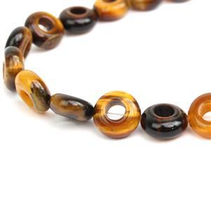 "50cts Yellow Tigers Eye Donuts Approx 10mm, 18-20cm/7-8"" strand"