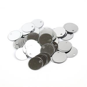 Silver Top Drilled Flat Sequins, 12mm (5g)
