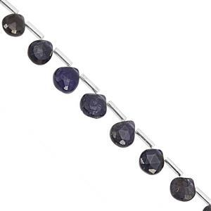 22cts Iolite Top Side Drill Faceted Heart Approx 6 to 8mm, 20cm Strand with Spacers