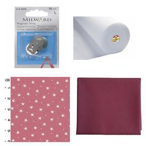 Pink Ditsy Stars Bow Clutch Bundle: Fabric (1m), Magnetic Snap & Fusible Fleece