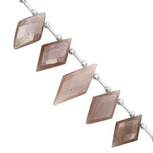 85cts Chocolate Moonstone Graduated Faceted Rhombus Approx 18x11 to 24.5x13.5mm, 17cm Strand with Spacers