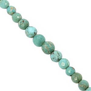 20cts Arizona Turquoise Graduated Faceted Round Approx 2.5 to 5mm, 24cm Strand