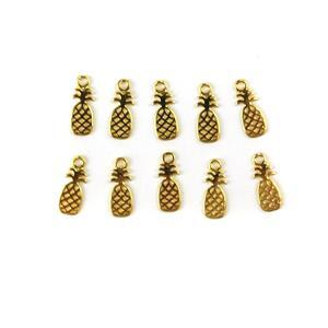 Gold Colour Plated Brass Pineapple Charms Approx 15x6mm 10pc/pk