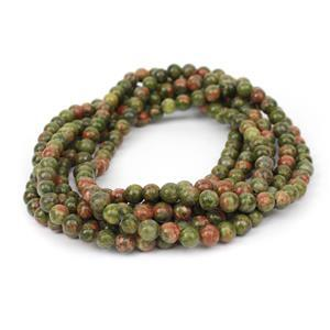 430cts Unakite Plain Rounds Approx 6mm, 140cm