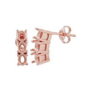 Rose Gold Plated 925 Sterling Silver Trilogy Earring Mounts (To fit Oval 4x3mm gemstone)- 1Pair