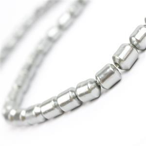 Dark Grey Shell Drum Pearls Approx 7x9.5mm, 38cm strand