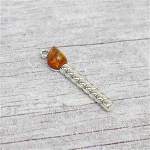 Baltic Cognac Amber Sterling Silver Birthday Candle Charm Approx 30x6mm