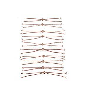 "Rose Gold Plated Base Metal Slider Bracelet Bundle, Approx. 9.4"" (10pk)"