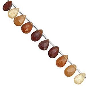 62cts Shaded Hessonite Garnet Top Side Drill Faceted Pear Approx 8x6 to 13x8mm, 21cm Strand With Spacers