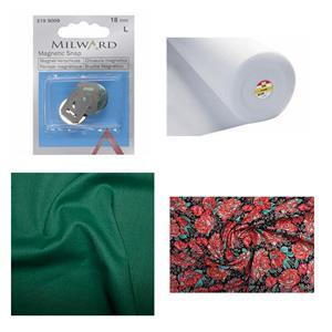 Peony Passion Noir Bow Clutch Bundle: Fabric (1m), Magnetic Snap & Fusible Fleece