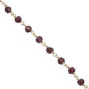 Rose Gold Plated 925 Sterling Silver Beaded Chain with Garnet Faceted Rondelles (2.50mm), Approx 20inch